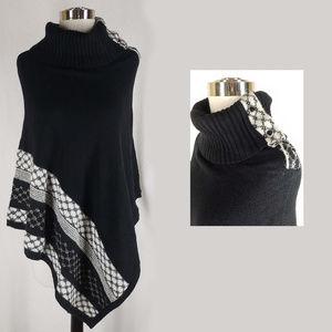 White House Black Market knit poncho top, M
